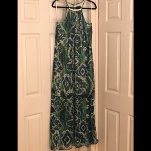 Green long summer dress